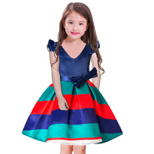 kids dresses for girls Blue America Stripes party and weeding Summer Fashion Top 2t-10Y Birthday Dress clothes