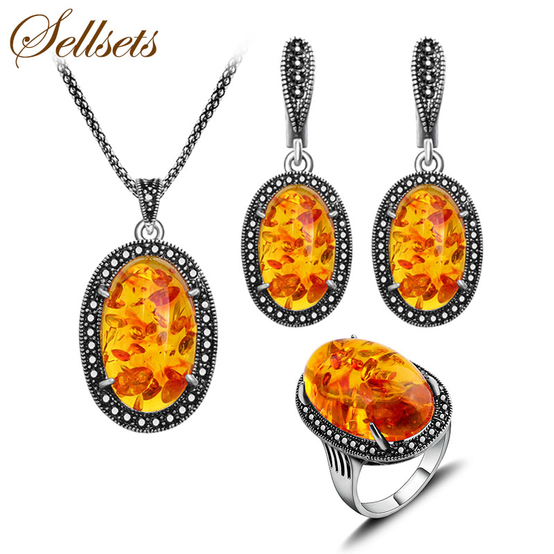 HENSEN 2016 New Jewelry Set Vintage Antique Silver Plated Fashion Black Crystal And Oval Faux Amber Jewellery Set Women Gift