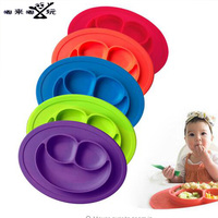 1PC 3 Grids Silicone Kids Baby Diner Portable Dish Bowl Plates Tray For Children Training Plate