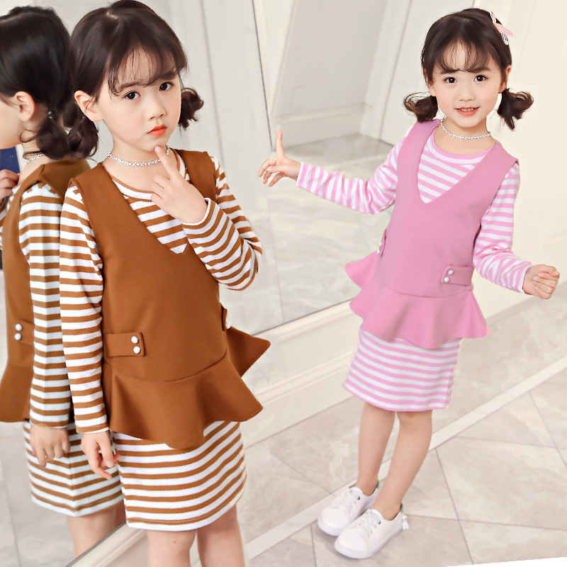 все цены на 2018 Girls Fashion Spring Long Sleeve O Neck Striped Dress Beading V Neck Sleeveless Vest Set 2 Piece Kids Baby Clothes Brand