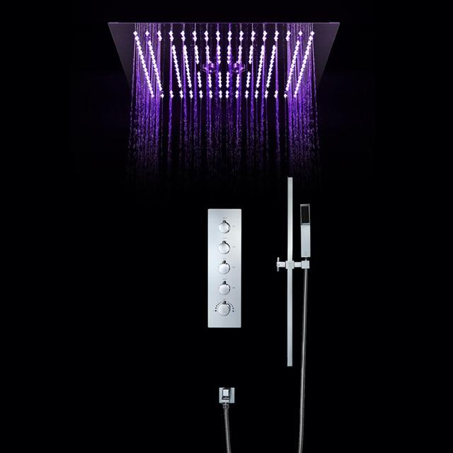 Intelligent Shower Set Thermostatic Luxury European Style Large SUS304 Misty Showerhead Bathroom Remote Control Led Ceiling