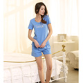 Female New Summer Pajamas Cute Girls Cotton Pajama Shorts Two-piece Tracksuit Blue Green Purple Three Colors Womens Pajamas Set