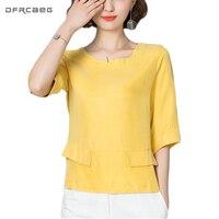 2017 Autumn Three Quarter Sleeve Tee Shirt Femme Solid Pockets Women Top High Quality Elegant T
