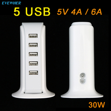 30W 5V 6A Quick Charger USB Charging Station Hub 5 Port Wall PowerAdapter Portable Travel for Phone