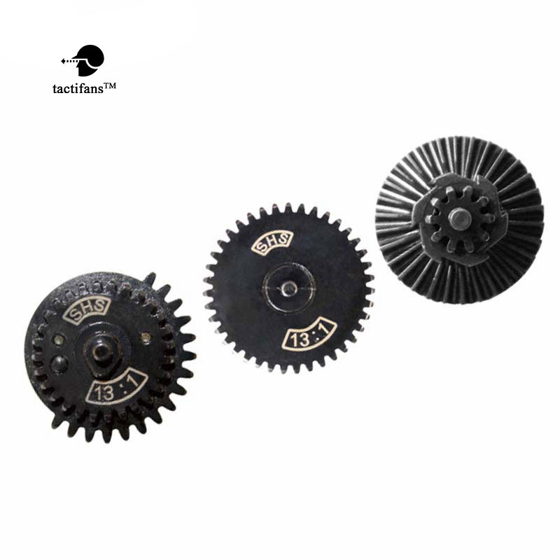 TACTIFANS SHS13:1 16:1 18:1 32:1 100:200 100:300 High Speed Gear Set For Ver.2 / 3 AEG/EBB Airsoft Gearbox Delay Sector Clip