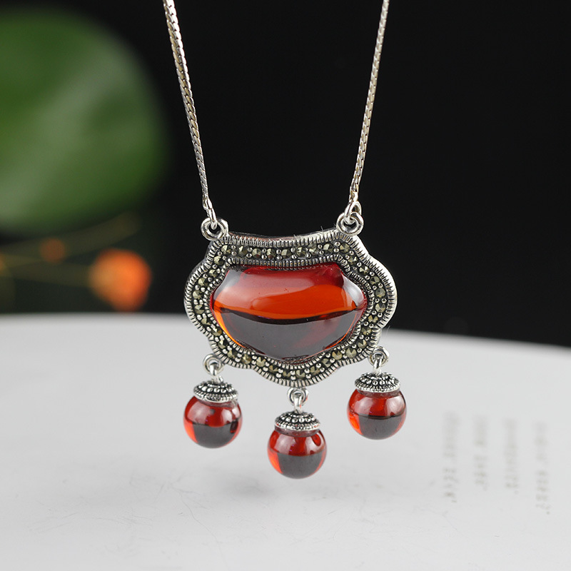 Genuine Solid 925 Longevity Lock Pendant Necklace for Women With Natural Red Garnet Stone Beautiful Fine