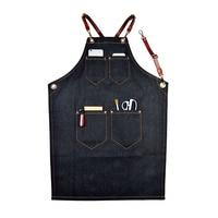 1*Denim Bib Apron Leather Strap Barista Baker Multiple Pocket Bartender BBQ Cook