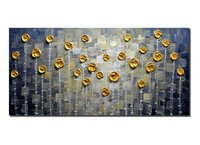 3D Gold Rose Oil Paintings Abstract Flower Art Hand Painted Paintings On Canvas Floral Wall Art