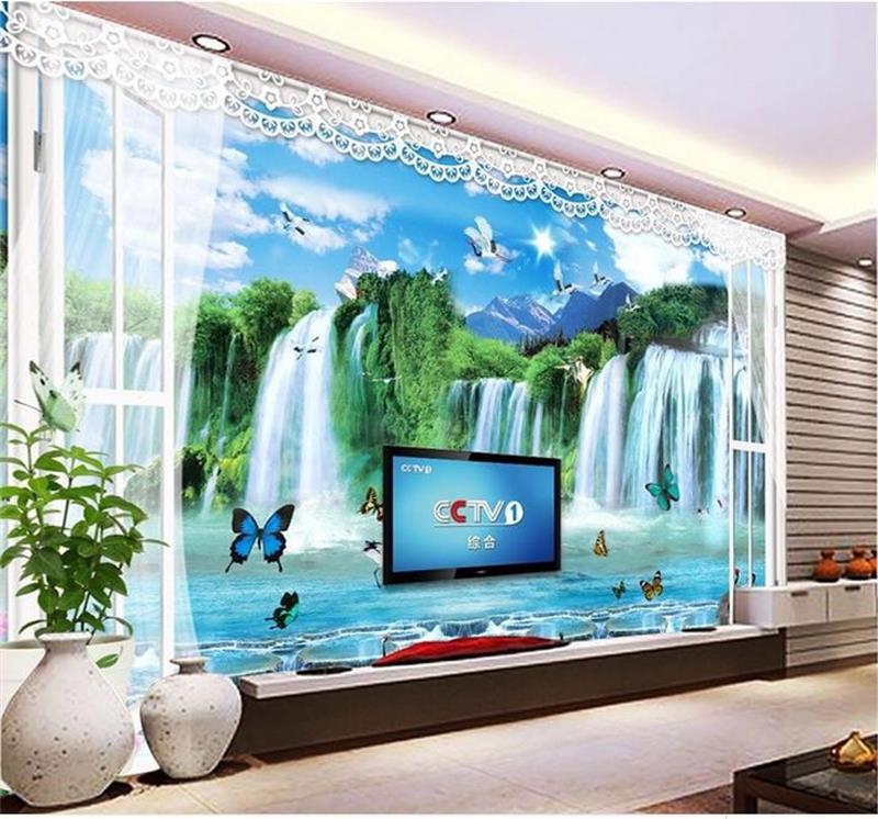 online kaufen gro handel benutzerdefinierte 3d wandbild tapete fenster 3d wasserf lle aus china. Black Bedroom Furniture Sets. Home Design Ideas
