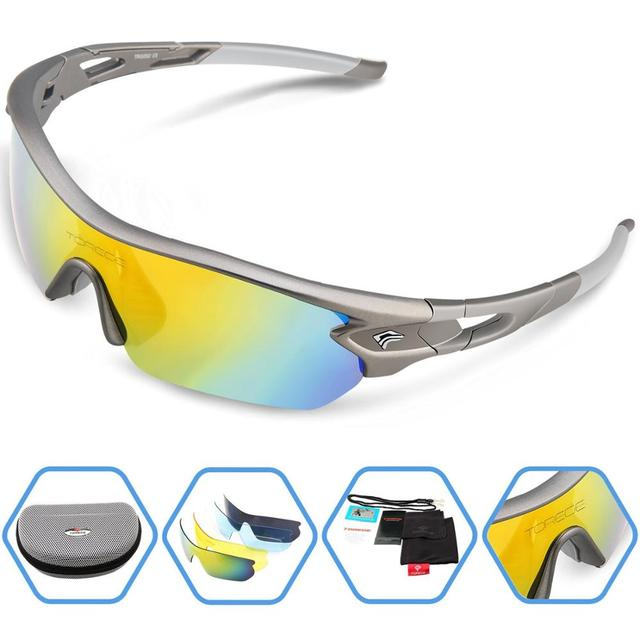 Polarized Sports Sunglasses With 5 Interchangeable Lenes for Men Women Climbing Running Driving Fishing Golf Baseball Glasses