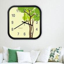 c0cc06a92 كبيرة الزخرفية ساعة حائط s للمطبخ Zegar الإبداعية المعادن مربع ساعة حائط  ملصقا الصامتة الحديثة تصميم