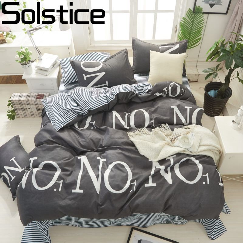 Solstice Home Textile King Single Bedding Set Boy Girl Child Teen Linens No.1 Duvet Cover Pillowcase Stripe Bed Sheet Bedclothes