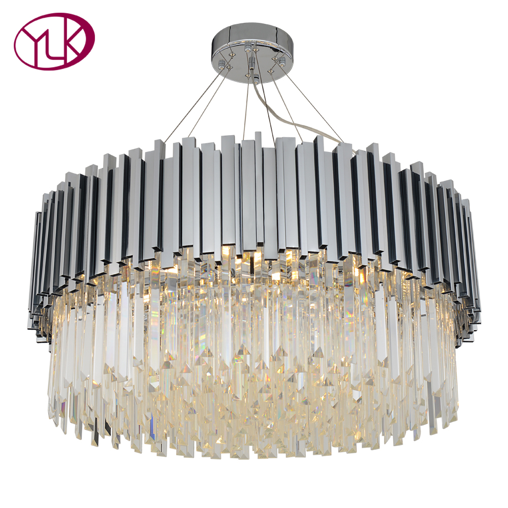 New Modern Chandelier Lighting Chrome Polished Steel Crystal Lamp Luxury 5