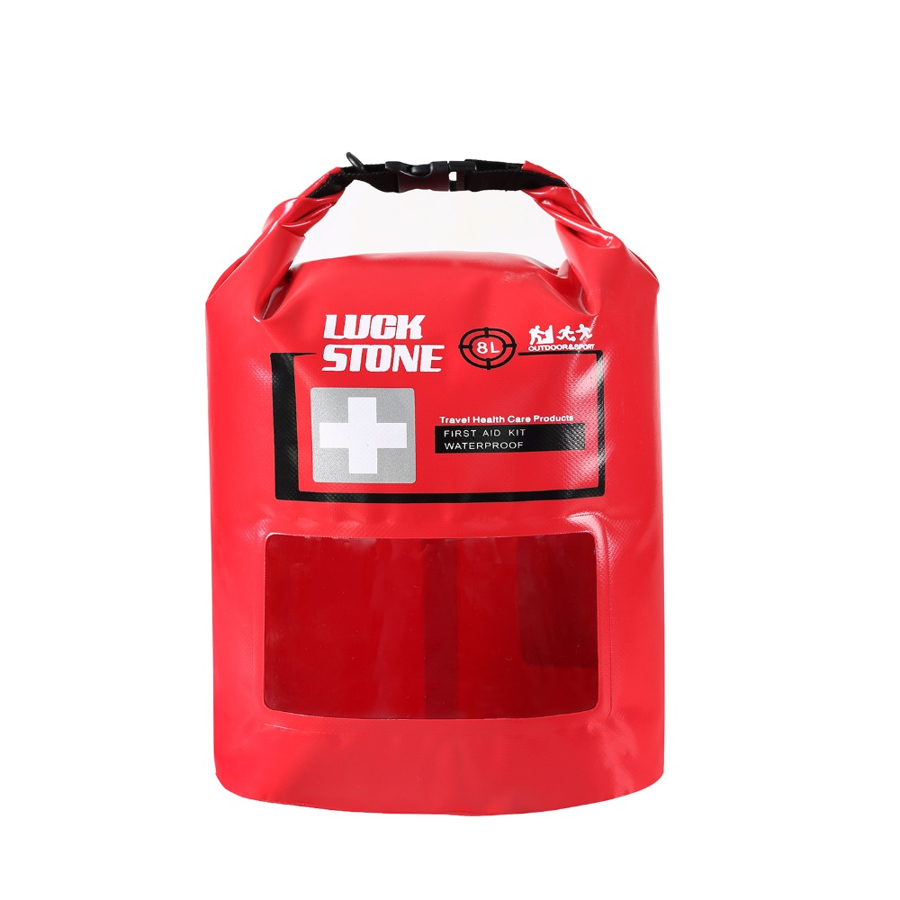 LUCKSTONE 8L Red Lightweight Outdoor First Aid Kits Emergency Waterproof Storage Bags for Camping Hiking Travel with Window