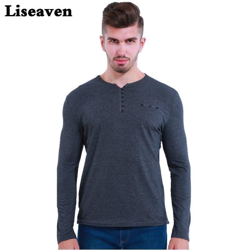Liseaven 2018 Slim Fit Lengan Panjang T-shirt Pria Tops & Tees Pria T Shirt Bergaya Pria V Neck Cotton T Shirts