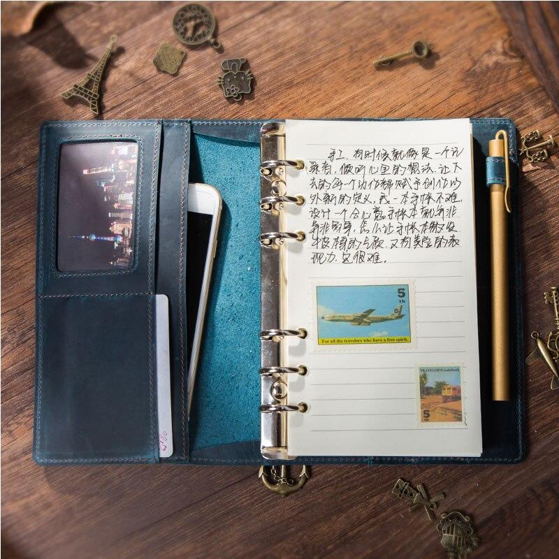 Yiwi A5 A6 A7 classeur manuel bloc-notes bloc-notes en cuir véritable carnet de voyage manuel agenda