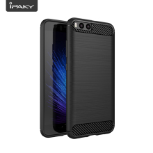 Brushed Case For Xiaomi 6, IPAKY 1.4MM Carbon Fiber Wire Drawing Flexible Slim TPU Back Cover Armor Phone 6