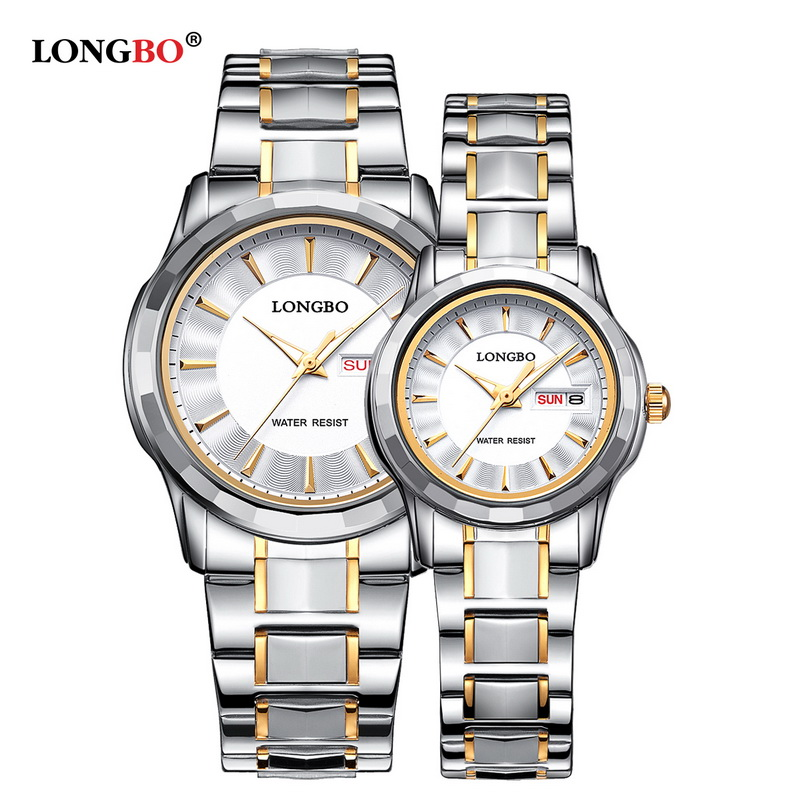 LONGBO Top Luxury Lovers Couple Watches Men Date Day Waterproof Women Gold Stainless Steel Quartz Wristwatch Montre Homme longbo men and women stainless steel watches luxury brand quartz wrist watches date business lover couple 30m waterproof watches
