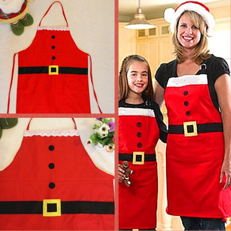 Leuke Katoen Kerst Kerstman Schort Navidad Natal Patronen Grappige Sexy Vrouwen Kids Kind Chef Koken Keuken Diner Schorten Voor Snelle Verzending