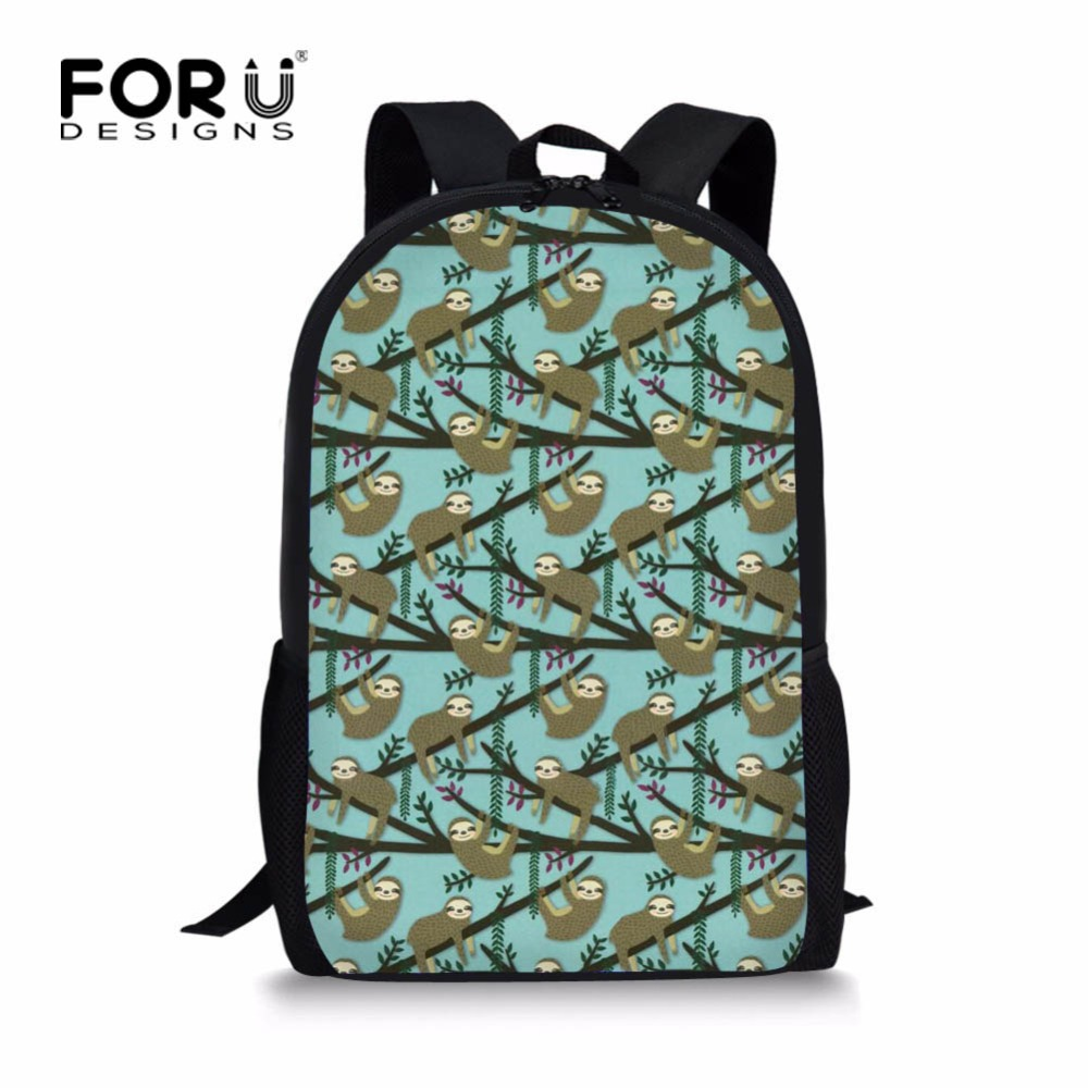 FORUDESIGNS Cute Floral Sloth School Bag for Girls Stylish Student Kids Schoolbag 16inch Children Kids 3d Bookbags Harness