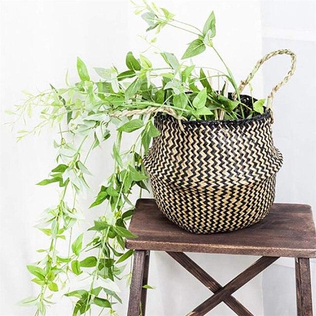 Feitas à mão Cestas De Armazenamento Dobrável cesto de Roupa de Palha Patchwork Rattan De Vime Seagrass Cesta Plantador de Vaso de Flores Do Jardim Do Ventre