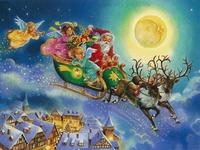 Hand painted Christmas Oil Painting Drawing Santa Claus with Angles Kids Canvas Pictures New Year Christmas Decortive Oil Paints