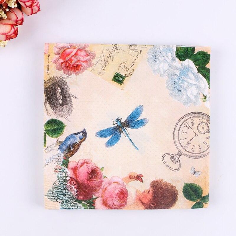 Los niños de papel servilleta tejido butterfly dragonfly flower handerchief deco