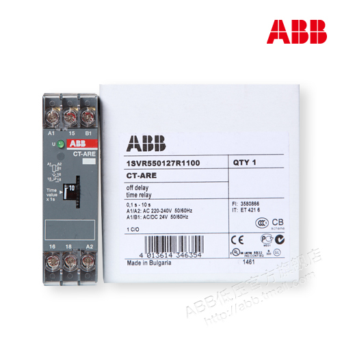 ABB time relay power off delay CT-ARE, 1c/o, 0.1-10sABB time relay power off delay CT-ARE, 1c/o, 0.1-10s