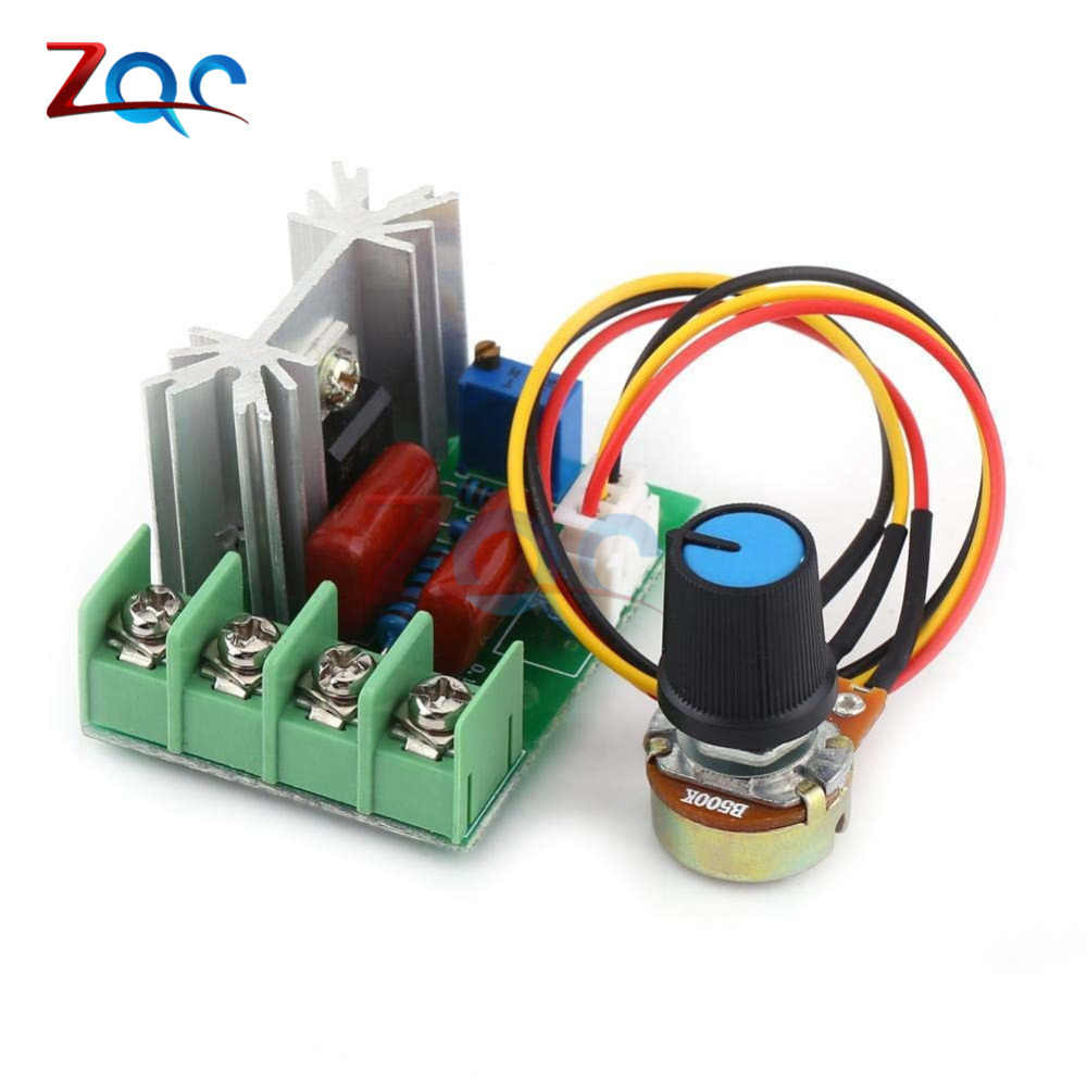 AC 220V 2000W High Power SCR ตัวควบคุมแรงดันไฟฟ้า Dimming Dimmers Motor SPEED CONTROLLER Governor โมดูล W/ Potentiometer