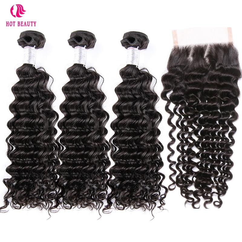 Hot Beauty Hair Peruvian Deep Curly Lace Closure 4 PCS Human Hair Bundles With Closure Swiss