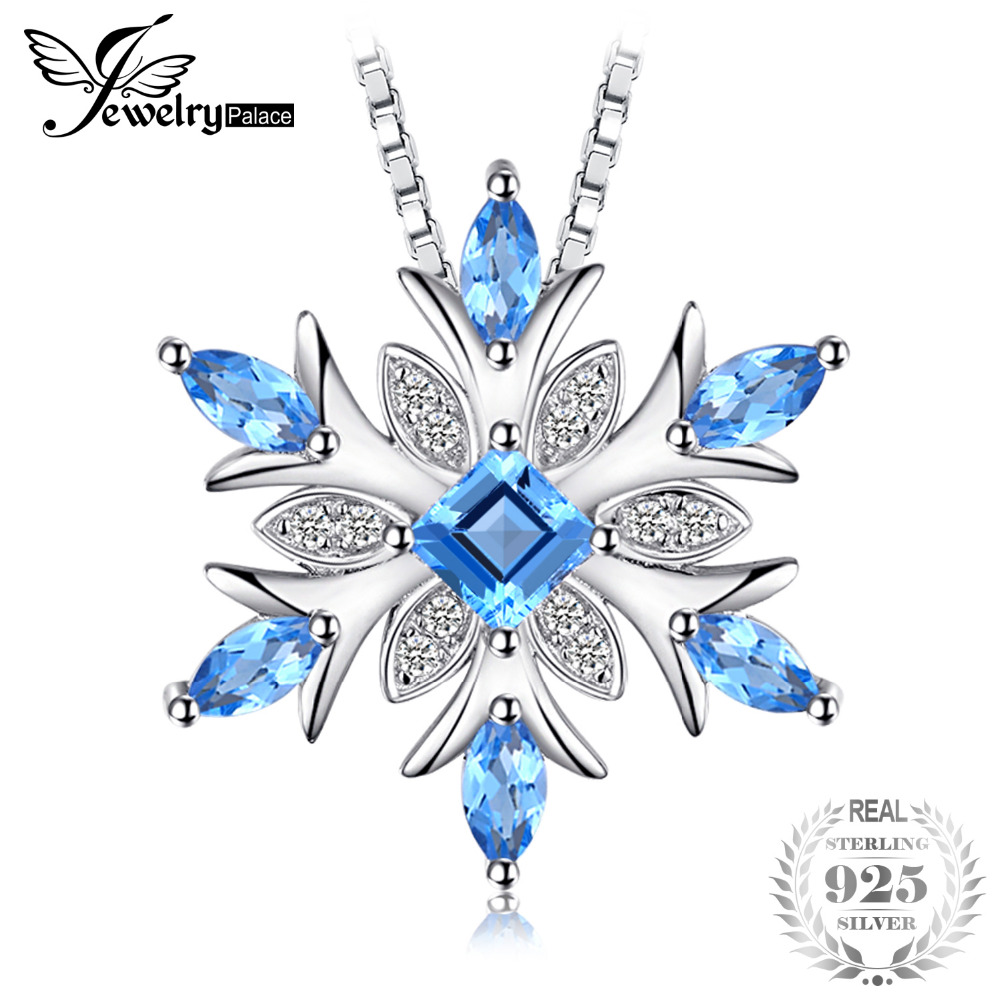 JewelryPalace Snowflake Natural Blue Topaz 925 Sterling Silver Pendant Necklace 45cm Box Chain Fashion Fine Jewelry For Women inzatt vintage geometric gold heart square pendant necklace 925 sterling silver fashion jewelry 45cm 55cm chain for women gift