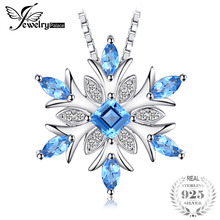 JewelryPalace Snowflake Natural Blue Topaz 925 Sterling Silver Pendant Necklace 45cm Box Chain Fashion Fine Jewelry