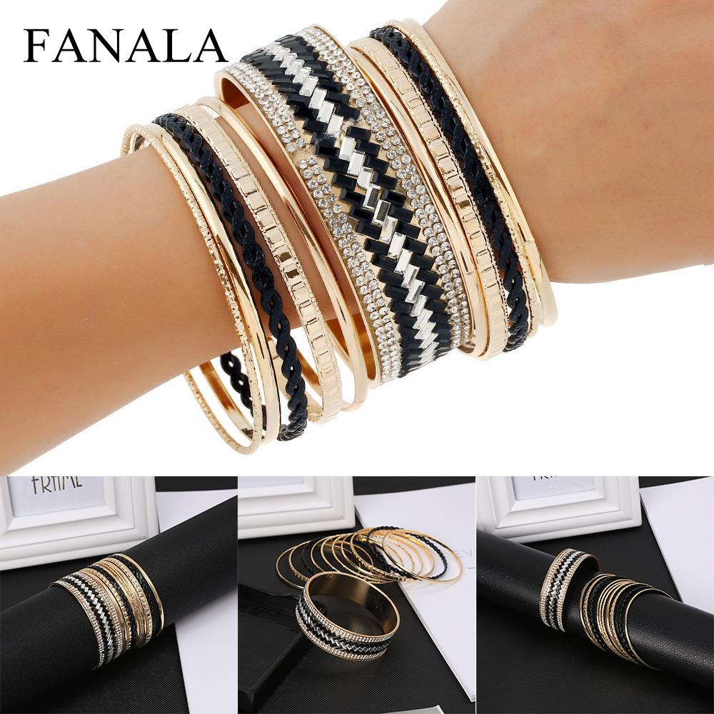 Fanala Bangles Women 11pcs/set Crystal Textured Mixed Metal Bangles Bracelets Fashion Jewelry New Varieties Are Introduced One After Another Bangles