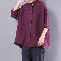2018 Women Tops Cotton Blouse Shirts Turn Down Collar 3 4 Sleeve Casual Loose Spring Fashion
