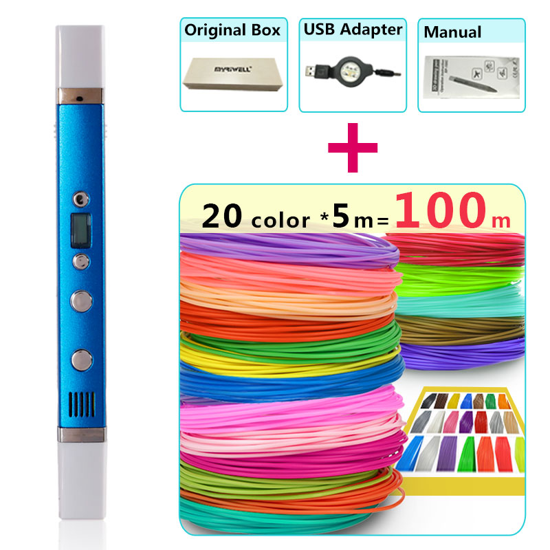 myriwell 3d pens + 20 * 5m ABS Filament,LED display,USB Charging,Creative 3d printing pen Gift set 3d drawing pen-3d 1.75mm pla myriwell 3d pens 20 10m abs filament 3 d pen 2017 smart 3d printed pen best gift for kids 3d print pen 3d model 1 75mm pla