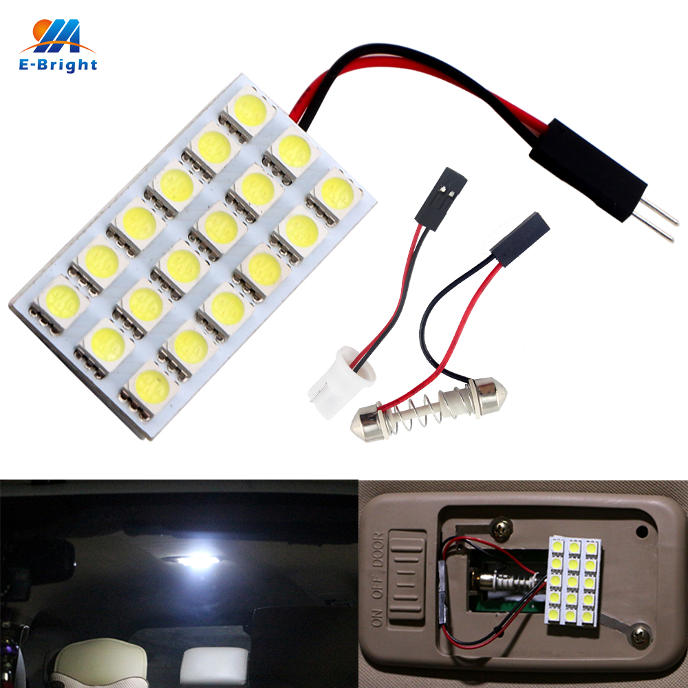 100pcs Panel Light <font><b>18</b></font> <font><b>SMD</b></font> 5050 3-Chips LED Car Light Festoon Dome Bulb Lamp <font><b>T10</b></font> + Festoon Adapters 12V Warm White Blue Auto LED image