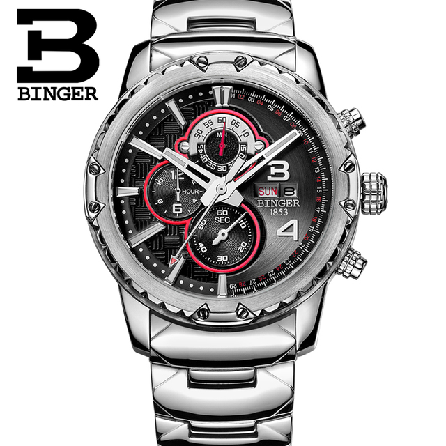 BINGER Fashion Chronograph Sport Mens Watches Top Brand Luxury Military Stainless Steel Strap Quartz Watch Relogio Masculino