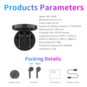 Image 5 - TW40 pop up tws Drahtlose Kopfhörer Bluetooth 5,0 Touch Control Headset Lade Unterstützung Freihändiger Kopfhörer Stereo Bass Mit Mic