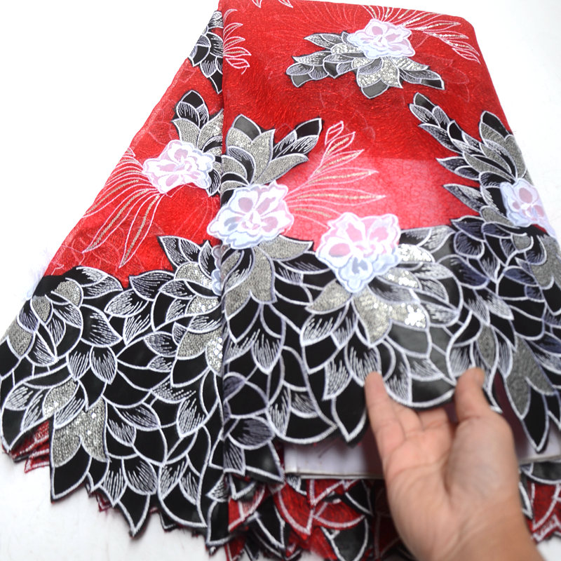 red and black french organza lace fabric high quality african net lace fabrics embroidered with sequins