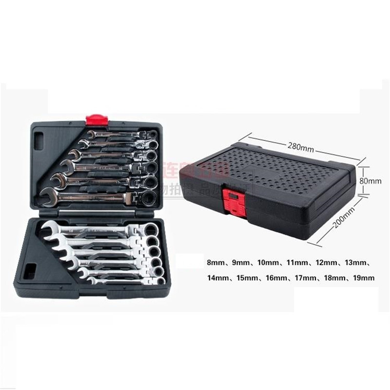 8-19MM Chromed Movable Head Ratchet Wrench Sets Torx Wrench Flexible head Tool Automotive repair hardware tools Set 12PCS 46pcs 1 4 inch high quality socket set car repair tool ratchet set torque wrench combination bit a set of keys chrome vanadium