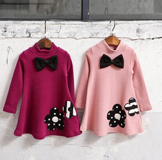 2017 Winter Girls Dress Thicken Girls Warm Cotton A letter Dress Kids Cute Style Comfortable material big Peplum with Dress