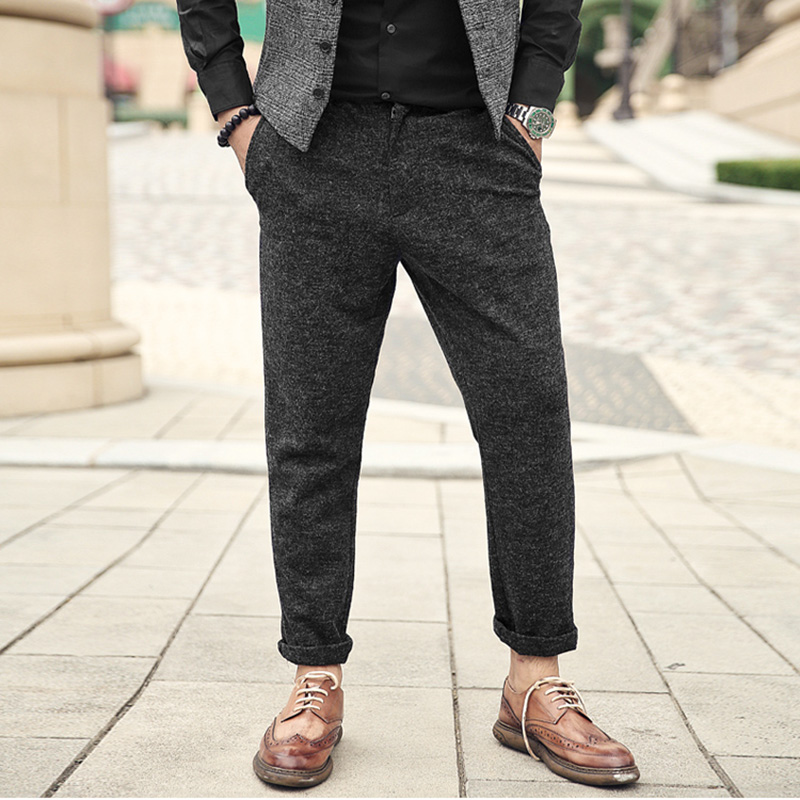 Dependable Men Autumn New Casual Slim Woolen Thickened Trousers Men's European Style Micro-elasticed Waist Zipper Fly Joggers Pants K857