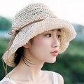 2016 nueva Paja Rafia ganchillo Hecho A Mano pliegue suave sol de verano sombreros para las mujeres niñas femme chapeau Sombrero de la Playa del Día de la Madre regalo