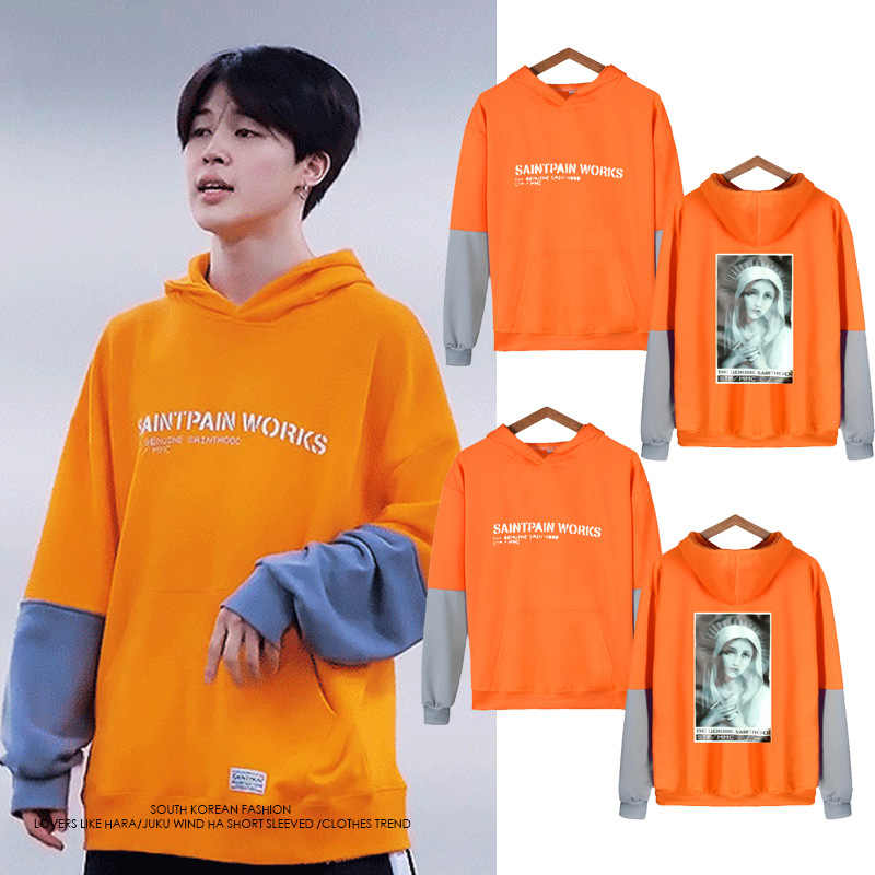 New Fashon Hot Jimin Kpop Cothes Men/women Long Sleeve Fake Two Piece Hoodie Sweatshirts Female Hip Hop Streetwear Orange Hoody