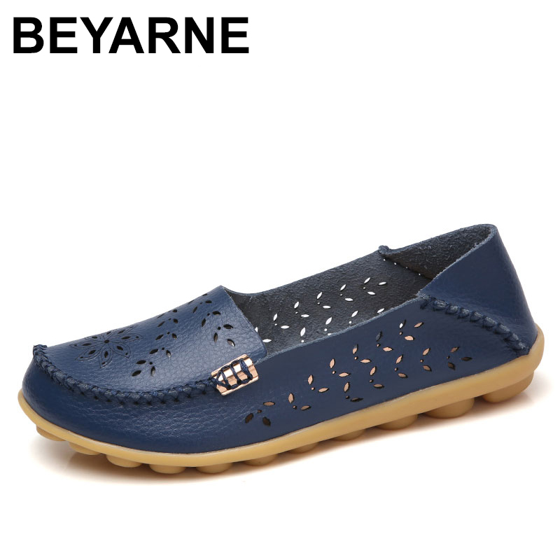 BEYARNE Genuine Leather Women Ballet Flats Summer Loafers Moccasins Folding Round Toe Metal Flower Slip On Casual Shoes wolf who 2017 summer loafers cut out women genuine leather shoes slip on shoes for woman round toe nurse casual loafer moccasins