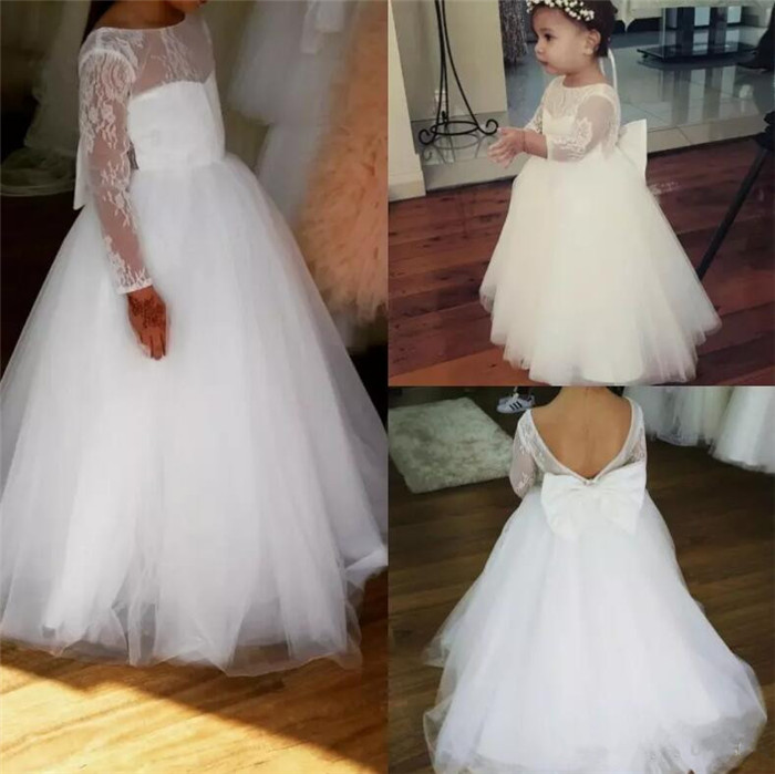 New White Flower Girl Dresses Bateau Neck Girls Floor Length Lace Applique Long Sleeves Pageant Gowns with Bow