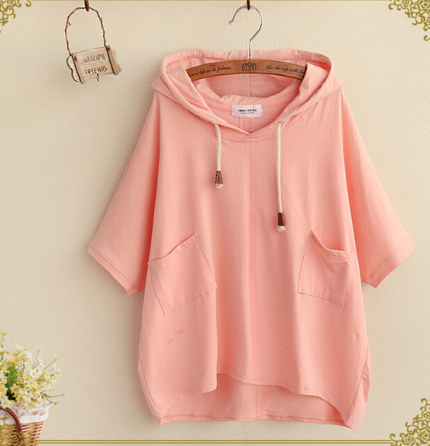 fresh Simple solid Two pockets  short sleeve  cotton Drawstring Hooded   t-shirt mori girl tee top