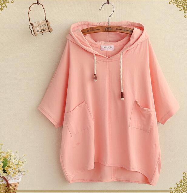 Fresco simples sólida dois bolsos manga curta cordão de algodão com capuz t-shirt camisa mori menina tee top