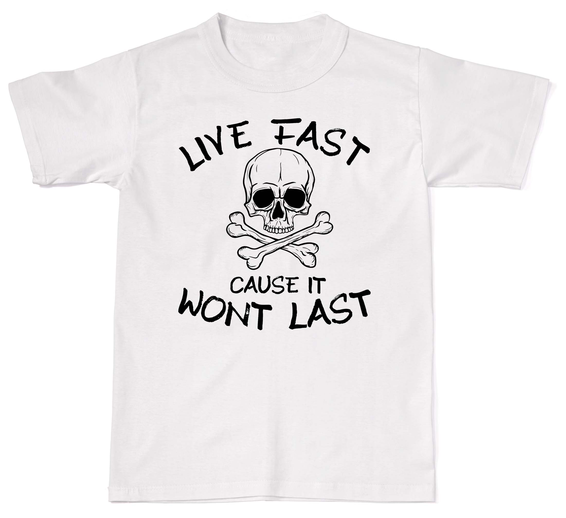 2018 Summer Fashion Men O-Neck T Shirt Live Fast Cause It Wont Last Biker Skull Bones Mens Womens Cotton T-Shirt T shi