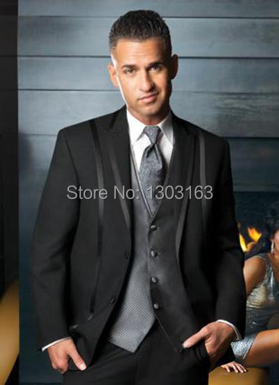 black Custom made prom two Buttons single breasted notch/peak lapel with trim formal Tux ...